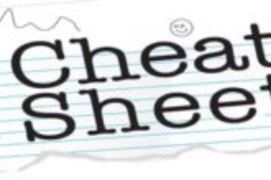 Cheat Sheet for Wednesday, March 14th